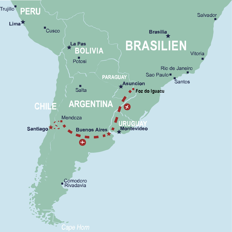 Karta över resa till Chile, Argentina och Brasilien