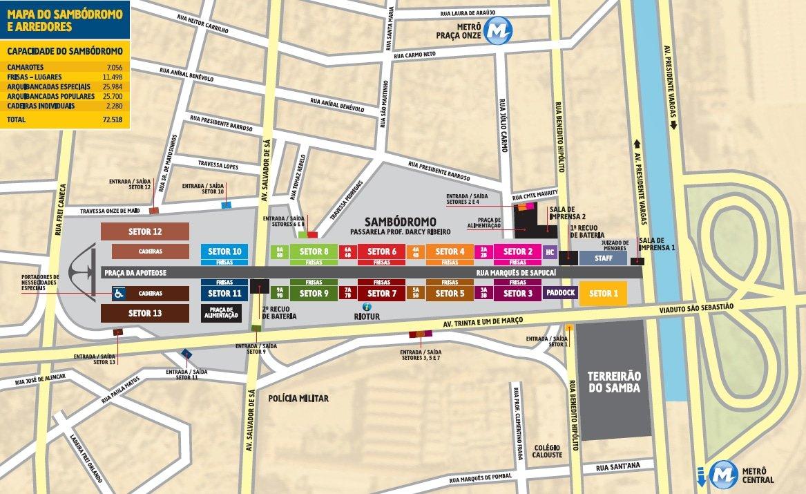 Karta över karnevalsområdet i Rio de Janeiro. Källa: Liesa