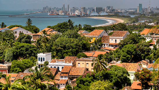 Utsikt mot Recife, Brasilien