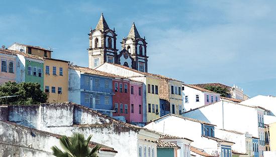 Färgglada byggnader i Salvador, Brasilien