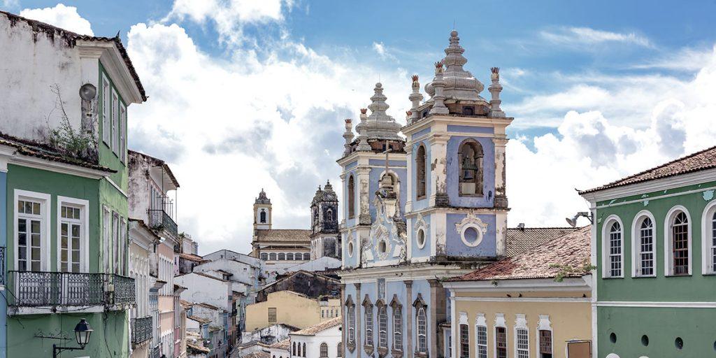 Bild från den gamla stadsdelen av Salvador i Brasilien
