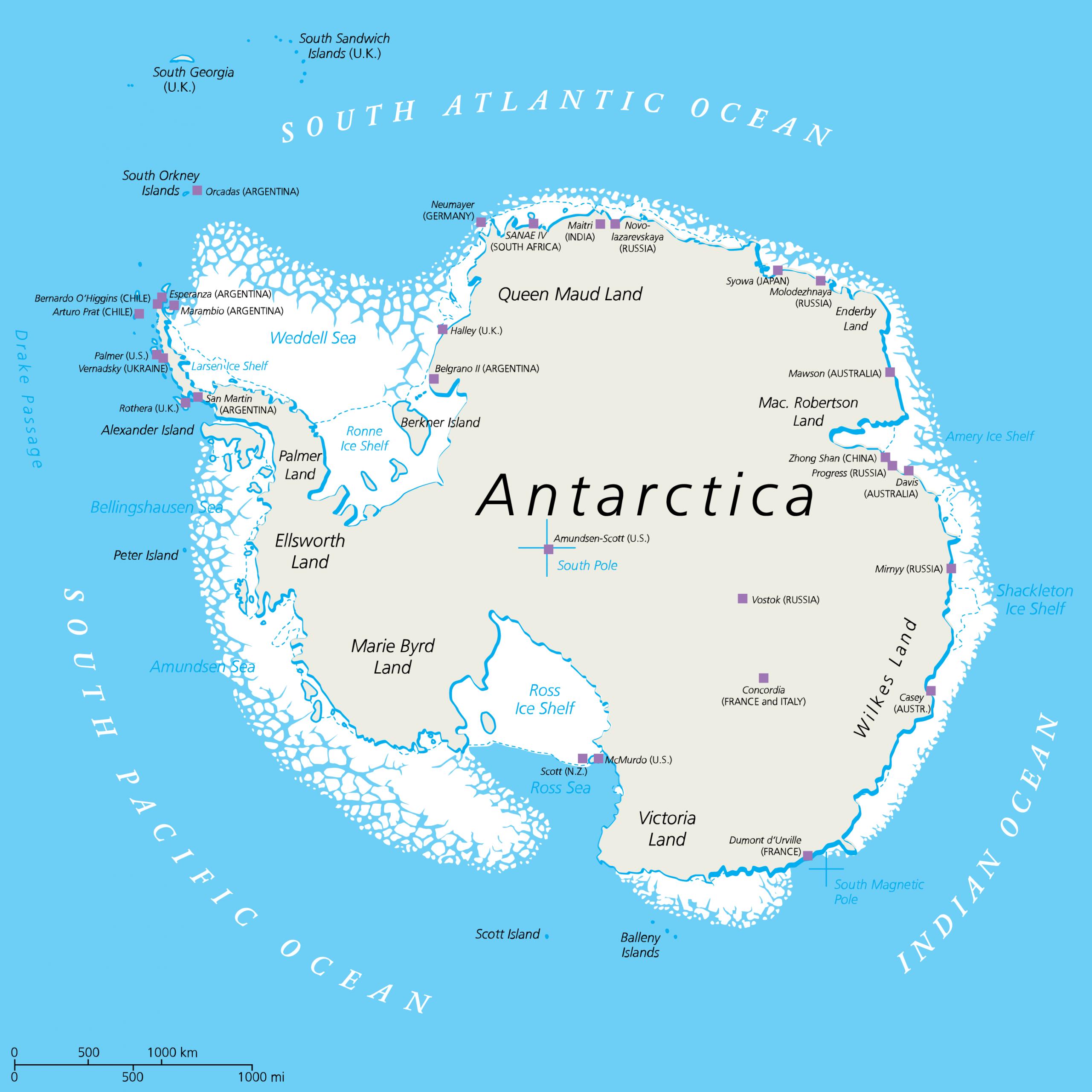 Karta över Antarktis