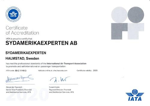 IATA certifikat för Sydamerikaexperten