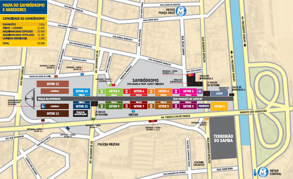 Karta över Sambodromo