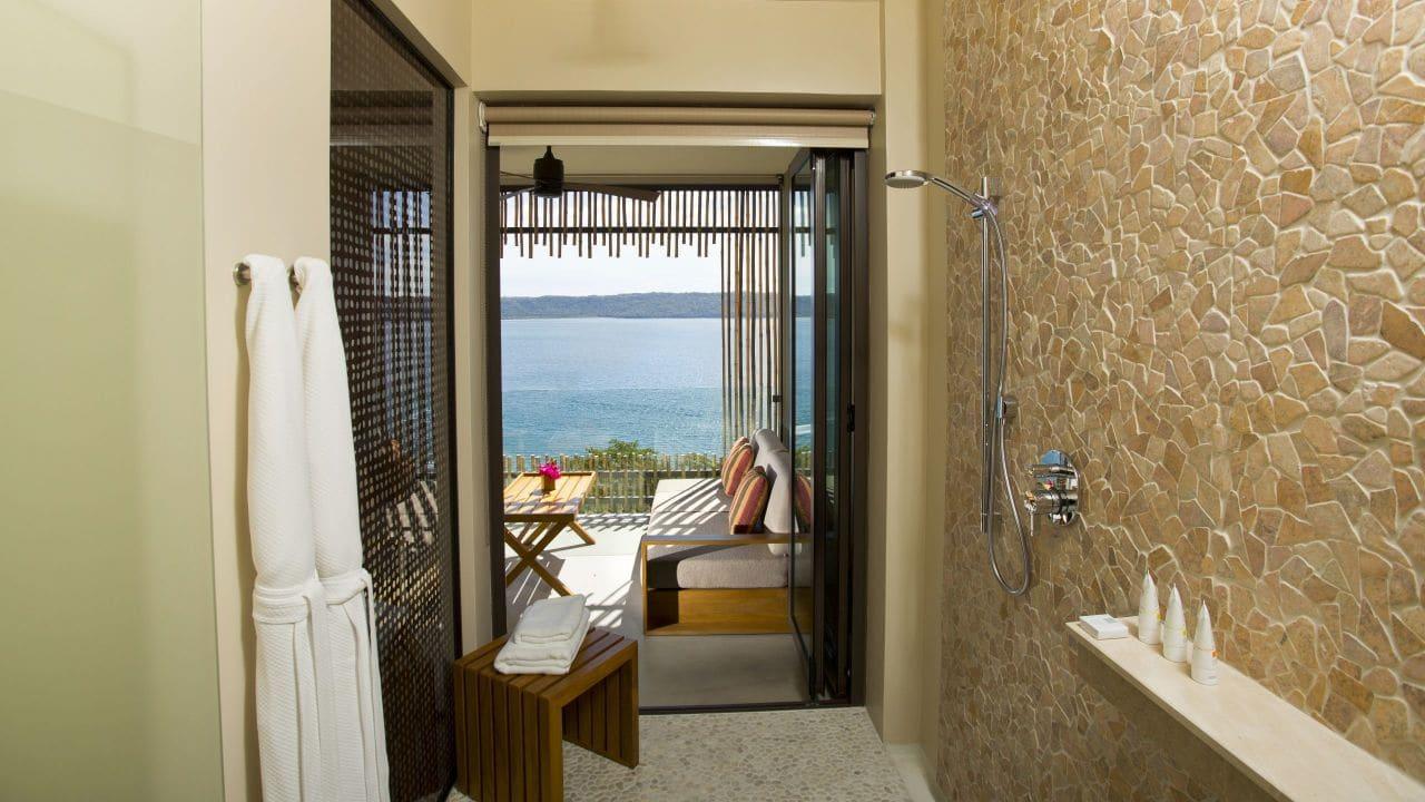 Andaz Peninsula shower bay view