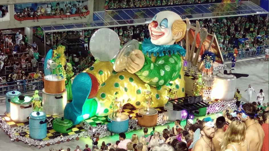 Clown på Sambadromo under Karnevalen i Rio